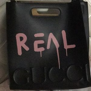 """Gucci Ghost PINK """"GG REAL"""" Graffiti Black Leather"""